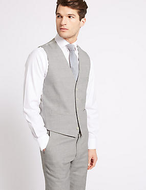 Linen Miracle Tailored Fit Waistcoat, GREY, catlanding