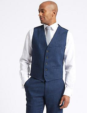 Linen Miracle Tailored Fit Waistcoat, INDIGO, catlanding