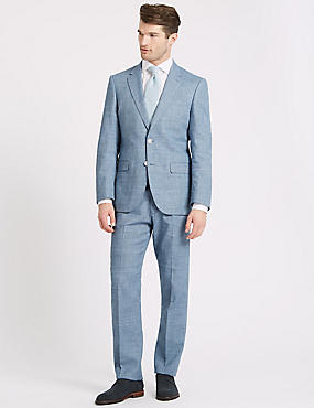 Linen Miracle Regular Fit Textured Jacket, BLUE, catlanding