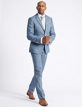 Linen Miracle Tailored Fit Jacket, BLUE, catlanding