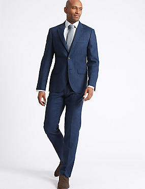 Linen Miracle Tailored Fit Jacket, INDIGO, catlanding