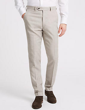 Linen Miracle Slim Fit Textured Trousers, NEUTRAL, catlanding