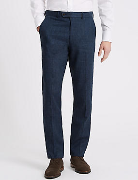 Linen Miracle Slim Fit Textured Trousers, INDIGO, catlanding