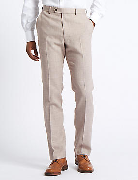 Big & Tall Linen Miracle Flat Front Trousers, NEUTRAL, catlanding