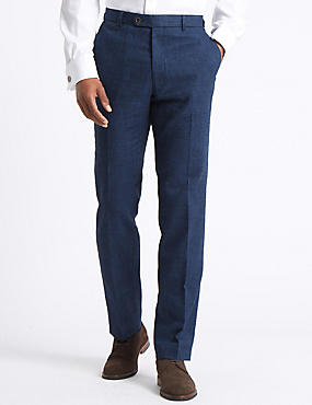 Big & Tall Linen Miracle Flat Front Trousers, INDIGO, catlanding