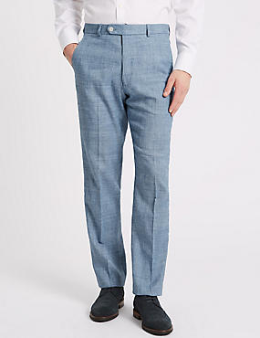 Linen Miracle Regular Fit Textured Trousers, BLUE, catlanding
