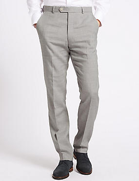Linen Miracle Flat Front Trousers, GREY, catlanding