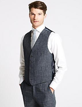 Linen Miracle Tailored Fit Waistcoat, DENIM, catlanding