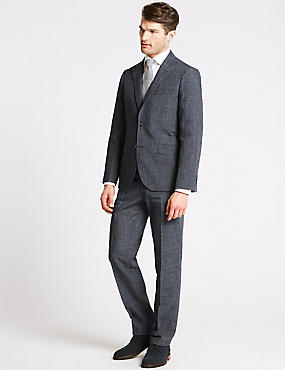 Linen Miracle Tailored Fit Jacket, DENIM, catlanding