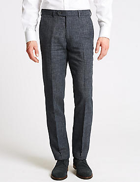 Linen Miracle Slim Fit Trousers, DENIM, catlanding