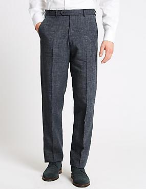 Linen Miracle Regular Fit Trousers, DENIM, catlanding