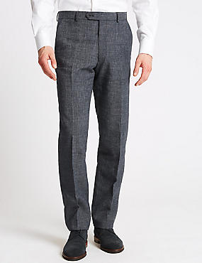 Linen Miracle Tailored Fit Trousers, DENIM, catlanding