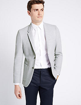 Grey Cotton Blend Jersey Jacket