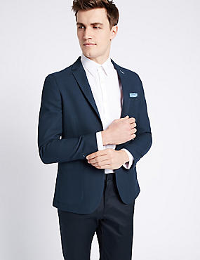 Navy Pure Cotton Modern Slim Jacket