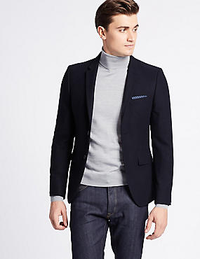 Wool Blend Textured Jacket