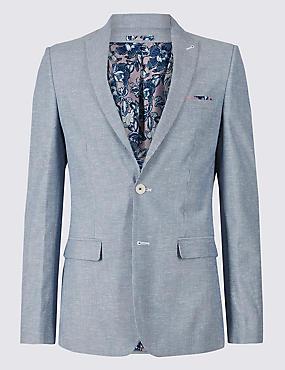 Slim Fit Jacket, BLUE/WHITE, catlanding