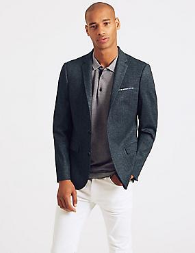 Slim Fit Textured Jacket, INDIGO, catlanding