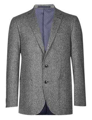 Big & Tall Wool Blend 2 Button Donegal Jacket with Cashmere Clothing