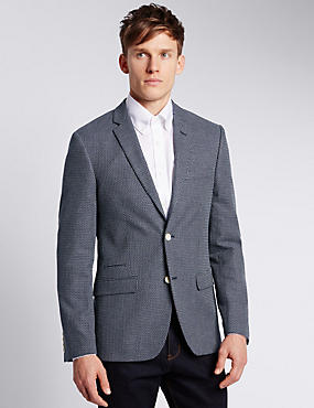 Pure Cotton Tailored Fit 2 Button Textured Jacket