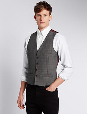 Slim Fit 5 Button Prince of Wales Check Waistcoat