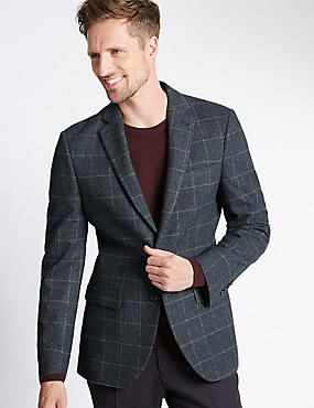 Big & Tall 2 Button Checked Jacket with Buttonsafe™