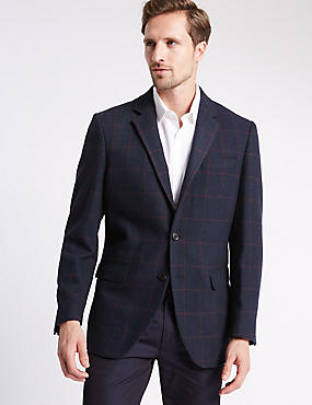 Windowpane Single Breasted 2 Button Checked Jacket