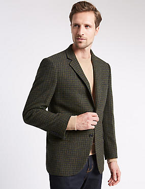 Single Breasted 2 Button Checked Jacket with Buttonsafe™