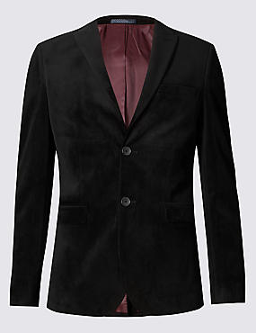 Slim Fit Single Breasted Velvet Jacket