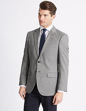 Textured Slim Fit Jacket, GREY, catlanding