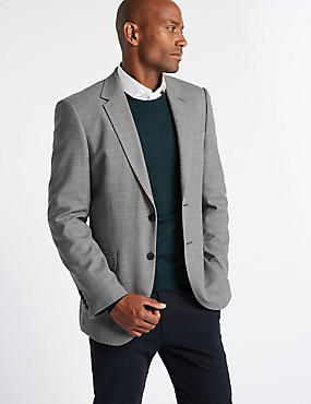 Grey Textured Regular Fit Jacket