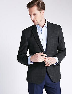 Navy Checked Cotton Rich Tailored Jacket