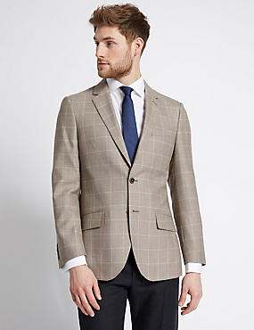 Wool Blend Window Pane 2 Button Jacket