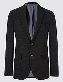 Charcoal Italian Wool Fabric Jacket
