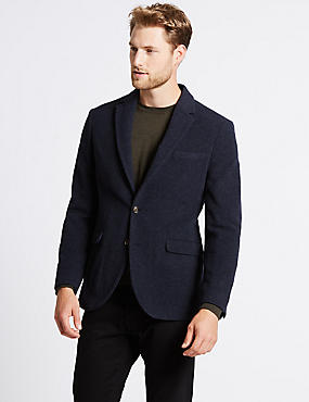 Navy Wool Rich Italian Fabric Jacket