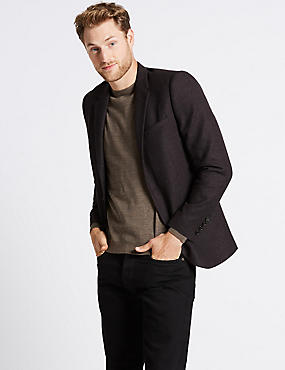 Wool Blend Textured Slim Fit Jacket
