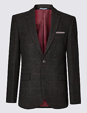 Big & Tall Wool Rich Tailored Fit Jacket, BROWN, catlanding