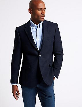 Wool Blend Herringbone Tailored Fit Jacket, NAVY, catlanding