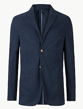 Pure Cotton Tailored Fit Jacket, BLUE, catlanding