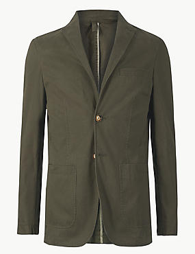 Pure Cotton Tailored Fit Jacket, KHAKI, catlanding