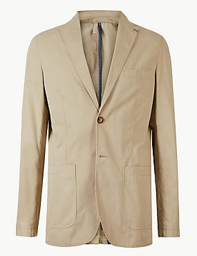 Pure Cotton Tailored Fit Jacket, , catlanding