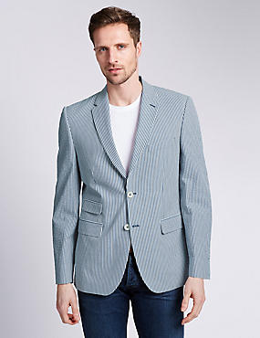 Pure Cotton Seersucker Striped 2 Button Jacket with Buttonsafe™