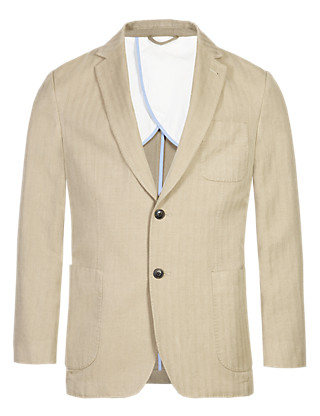 Herringbone Striped Slim Fit Jacket with Linen Clothing