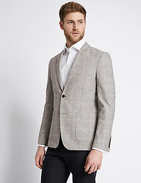 Cotton Blend Checked Jacket