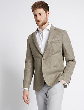 Linen Mix Tailored Fit Jacket