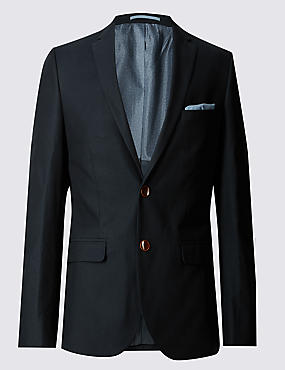 Pure Cotton Textured Tailored Fit Jacket