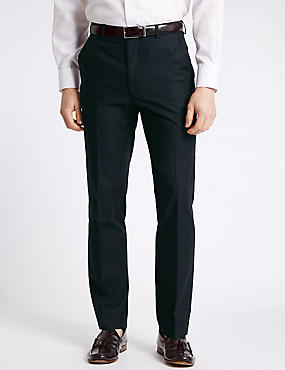 Tailored Fit Pure Cotton Textured Trousers