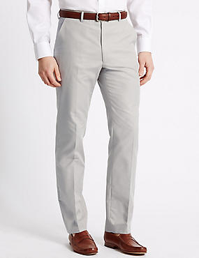 Pure Cotton Textured Tailored Fit Trousers