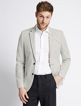 Striped Pure Cotton Tailored Fit Jacket