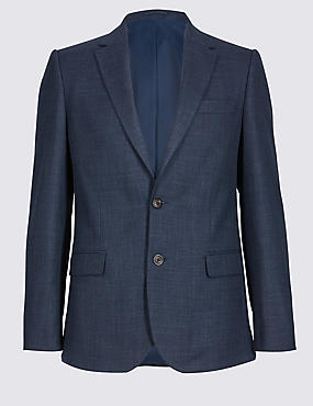 Textured 2 Button Slim Fit Jacket, INDIGO, catlanding