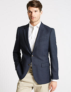 Textured 2 Button Regular Fit Jacket, INDIGO, catlanding